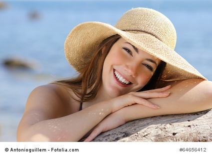 Portrait of a sweet woman with a perfect white smile
